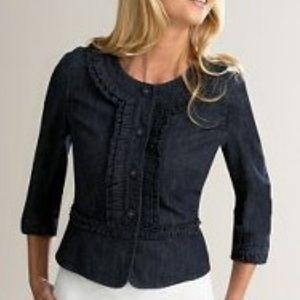 Ann Taylor LOFT ruffled cropped denim jacket